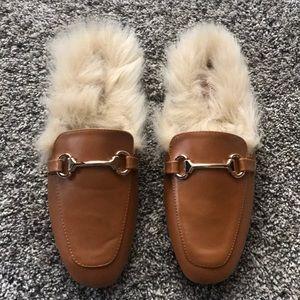 """Fur"" (open back) loafers"